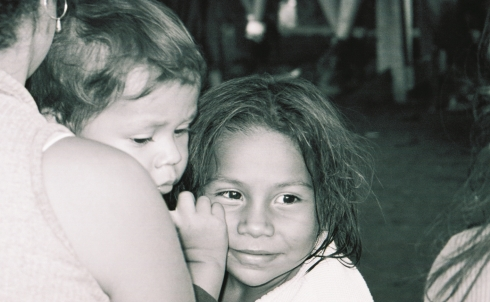 Black and white photo of a young girl in Nicaragua