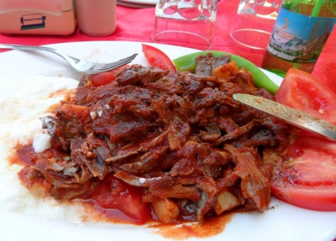 Color photo of a plate of Turkish Iskender Delight