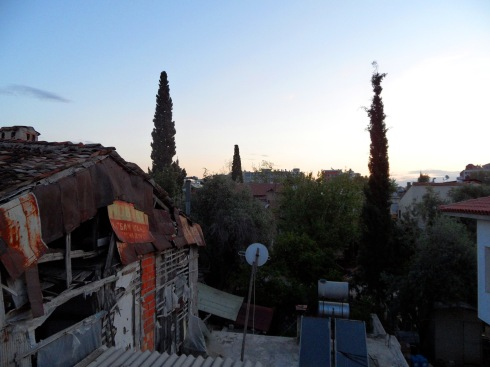 Color photo of the Kaleici skyline at daybreak, just after Fajr.