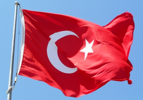 Color photo of the Turkish flag in the wind.
