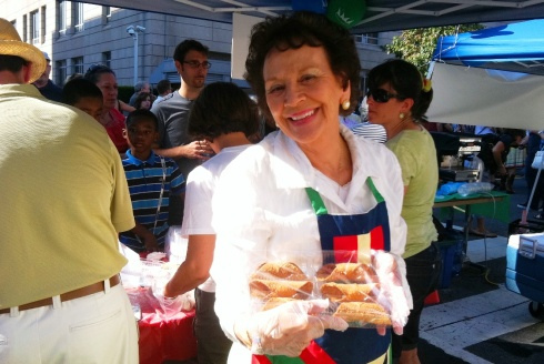 Mama Vacarros Showing off the Cannoli shells