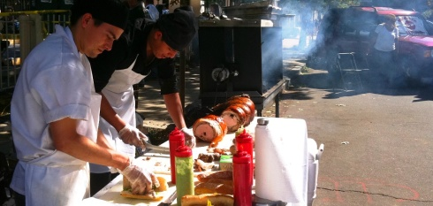 Making the fresh Porcetta sandwiches at Italian Fest in DC