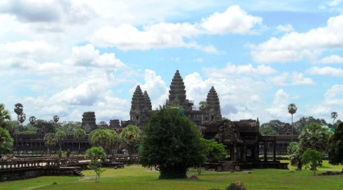 Landscape color image of the Ancient Temples of Ankor Wat