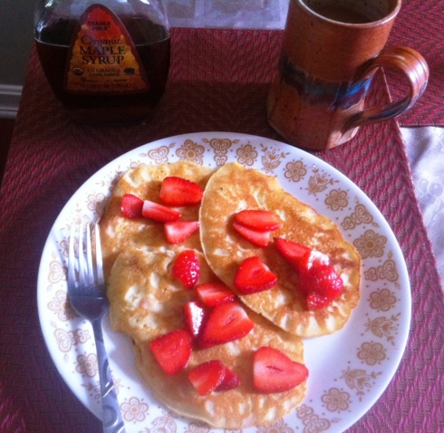 Sunday strawberry pancake breakfast