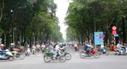 Streets of Vietnam with bikes and motos