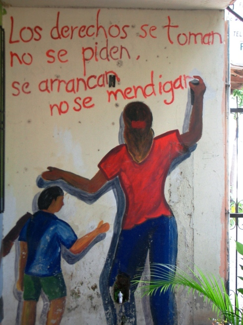 Wall painting in color on human rights