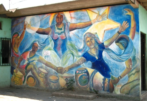 Wall painting of women's strength rising