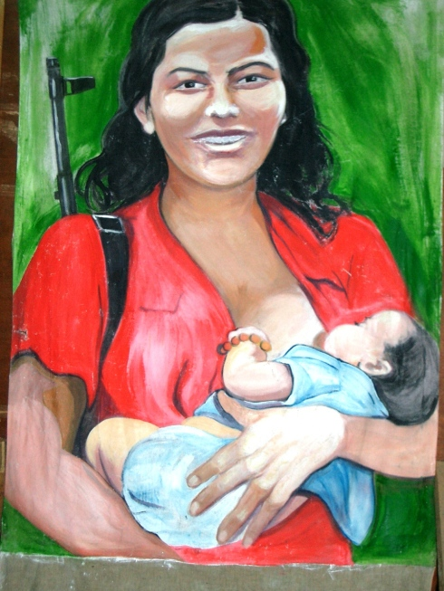 Color painting of mother and child with gun