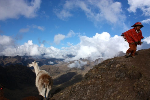 Color photo of Peruvian child with llama